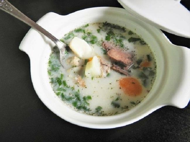 Рыбный суп с печенью трески
